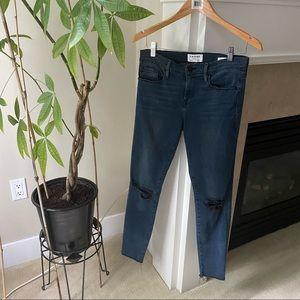 FRAME Dark Blue Le Skinny De Jeanne Ripped Jeans